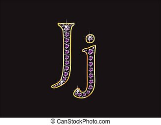 Jj Amethyst Jeweled Font with Gold - Jj in stunning amethyst...