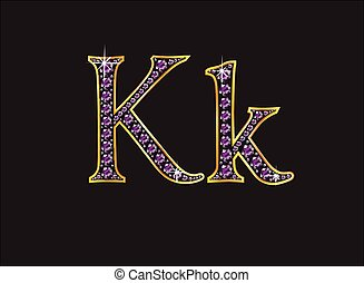 Kk Amethyst Jeweled Font with Gold - Kk in stunning amethyst...