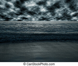 Sea and beach storm in dark tone - Sea and beach storm in...