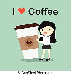 Business woman holding coffee cup.