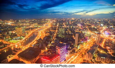Camera Moves to Night City Busy Traffic Streets from...
