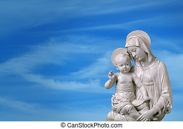 Statue of Virgin Mary and Jesus - Horizontal Image of the...