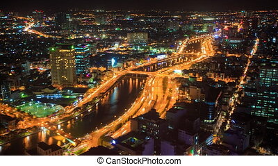 Moving to Night City River Banks Traffic Lights from...