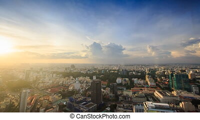 View of Sunset above Evening City from Skyscraper - panorama...