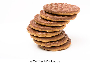 Chocolate Digestive - Stack of Chocolate Digestive biscuits...