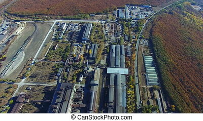 Flying over the steel factory. Autumn. aerial survey
