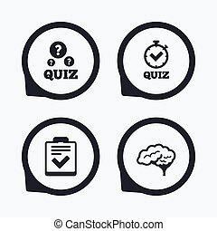 Quiz icons Checklist and human brain symbols - Quiz icons...