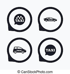 Public transport icons Taxi speech bubble signs Car...