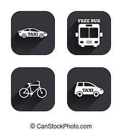 Public transport icons Free bus, bicycle signs - Public...