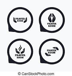 Prayer room icons Religion priest symbols - Prayer room...