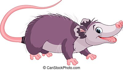 Opossum  - Clipart illustration of cute cartoon opossum