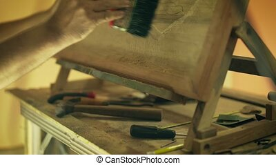 6 Sculptor Painter Artist Chiseling A Wooden Bas Relief -...