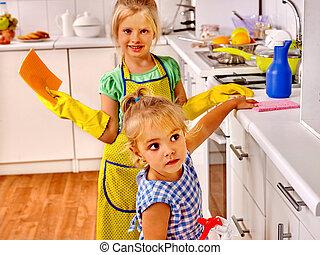 lavando, crianças, cozinha