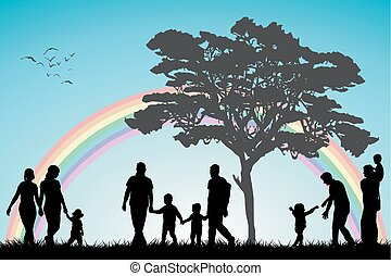 Gay and lesbian couples and family with children over an...