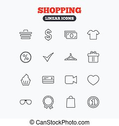 Shopping icons Shirt, gift box and currency - Shopping icons...