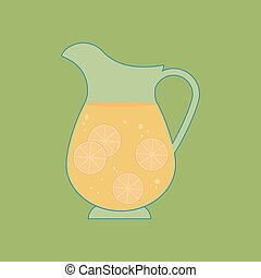 Decanter Carafe Vector Icon on the green background. Vector...