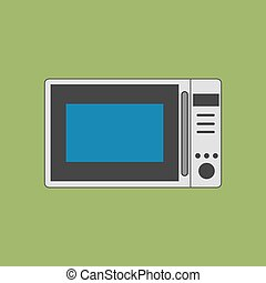 Microwave Oven Icon on the green background Vector...