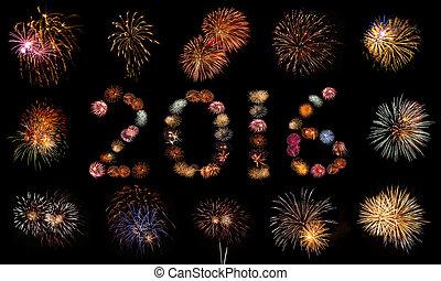 Firework Bursts Arranged in 2016 and Framed