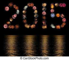 Firework Bursts Arranged as the Number 2015 with Reflections