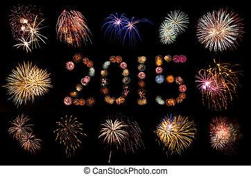Firework Bursts Arranged in 2015 and Framed