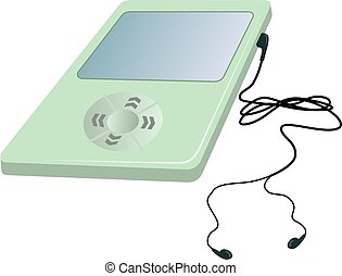 Music - Illustration of green colour ipod with a headphone