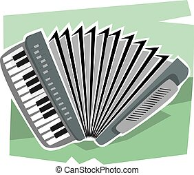 Music	 - Illustration of an harmonium in a green background