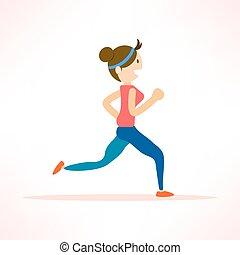 woman running, jogging, marathon sport - woman running,...