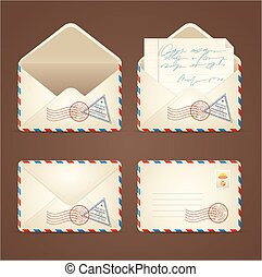 Letter Mail Vintage Set. Vector