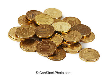 Gold money stack macro - Gold money stack close up Business...