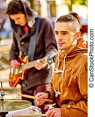 Performance of street musicians - Music street men...