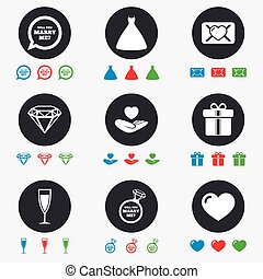 Wedding, engagement icons Love oath letter - Wedding,...