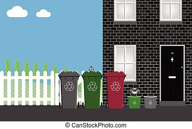 Recycling collection - Recycling bins outside residential...