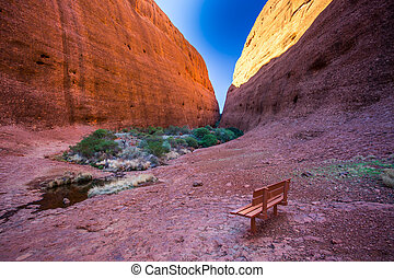 Walpa Gorge at The Olgas on a clear winters day in the...
