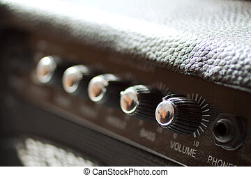 Amp - Closeup of a black electric guitar amp