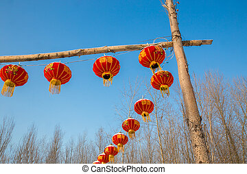 Row of chinese lanterns on a pile