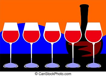 glass of wine - Illustration of five glass of wine and wine...