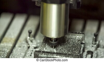 Close-up shot Metal Lathe Cutting Aluminium - Close-up view...
