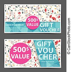 Floral gift voucher certificate