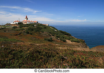 Cabo da roca - View on lighthouse on Cabo da Roca in...