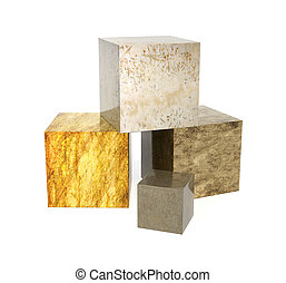 Four boxes with marble textures
