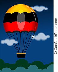 parachute - Illustration of a designed parachute in the sky