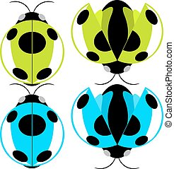 Beetle illustration - Beetle green and cyan fly cartoon...