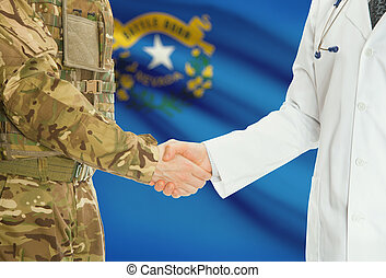Military man in uniform and doctor shaking hands with US states flags on background - Nevada