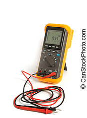 Professional digital multimeter isolated on the white...
