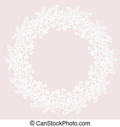 White lace frame - Elegant white lace frame on a pink...