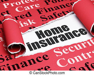 Insurance concept: black text Home Insurance under the piece...