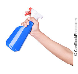 Spray bottle by hand on white background