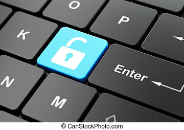 Information concept: Opened Padlock on computer keyboard background