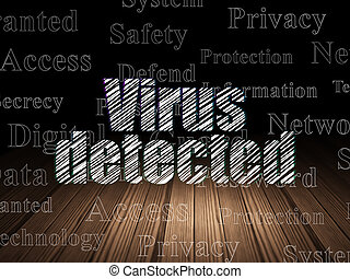 Protection concept: Virus Detected in grunge dark room