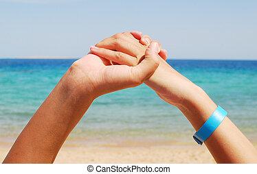 hands - gesturing hands over sky background
